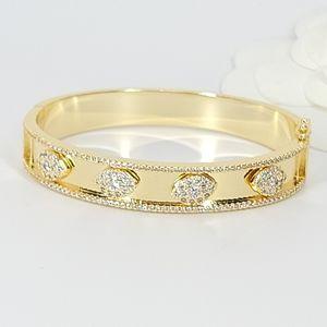 NEW Pave CZ Evil Eyes 18K Gold Bangle Bracelet NWT